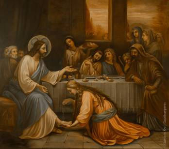 Jesus in the house of pharisee - St Vincent de Paul Sisters convent - Betania, Bethania- Israel